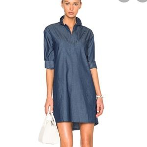 ATM Chambray Pullover Shirt Dress Indigo Stripe S